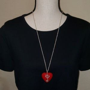 Candie's red heart /silver key necklace